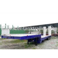 Drop Deck Heavy Duty Flatbed Trailer ,  8 Ton Heavy Load Trailer Dual Hydraulic Ramps