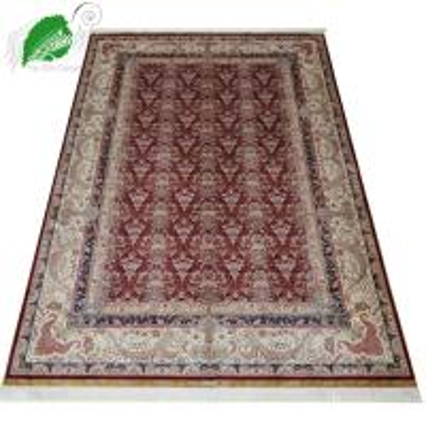 Red Color With Persian Design European Silk Carpet/ Rug