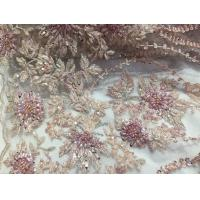 Wholesale 47 Inch Pink Embroidered Heavy Beaded Lace Fabric By The Yard With Scalloped Edge from china suppliers