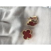 Wholesale Van Cleef Arpels Vintage Alhambra earrings 18k yellow gold with carnelian from china suppliers