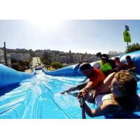 China Customized 300m Inflatable Water Slide , Natural Ramp Blue Summer Water Game on sale