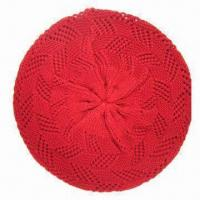 China Knitted winter hat, fashionable hollowed out pattern cap, made of acrylic yarn, suitable for ladies on sale
