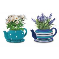 China Customized Ceramic Garden Flower Pots , Hand Painted Giant Teacup And Saucer Planter on sale