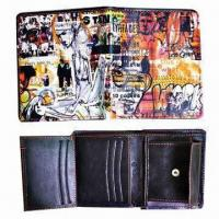 China Digital Printing Wallet with Coin Purse, Made of PU Leather, Measuring 9.8 x 11 x 1.8cm on sale