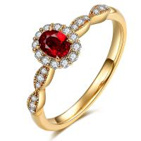 Oval Red Ruby Ring With Diamonds Yellow Gold For Women Anniversary Gift