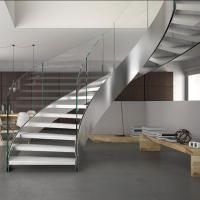 Wholesale Villa house Stainless steel staircase Stainless steel curved stair steel-wood stairs from china suppliers