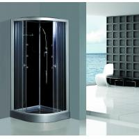 China Enclosed Framed Shower Glass Doors , Custom Glass Shower Walls Black Back on sale