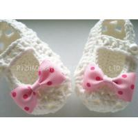 Wholesale Creme Crochet Baby Shoes Hollow Out With Lace Bowknot , Knitted Baby Girl Shoes from china suppliers