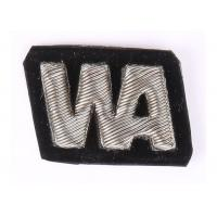 W / A Pattern Silver Embroidered Letter Patches , Bullion Wire Badges