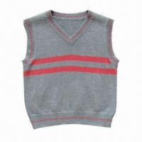 China Fashionable V-neck knitted baby sweater/vest, made of 100% cotton on sale
