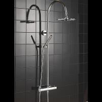 Wholesale Hand Held Thermostatic Shower Set Round Curved Pole Shower With Gravity Fed System from china suppliers