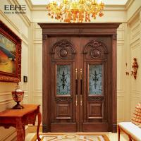 Anti Corrosive Luxury External Hardwood Front Doors With Double Glass Panels