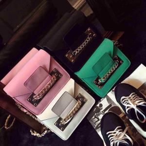 2015 Spring Hot Sale Women Satchel Handbag Shoulder Purse PU Leather Chain Bag Multi Color
