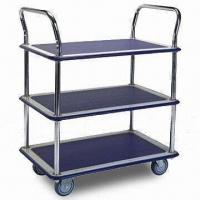Wholesale Three-shelf Trolley with Double Handles and 4 Inches TPR Caster from china suppliers