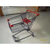 75L Wire Shopping Trolley With Baby Safety Belt And Plastic Advertisement Board