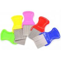 Multi Color ABS Handle Fine Toothed Flea Comb With Long Stainless Steel Pins