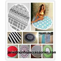 Wholesale Luxury velour round beach towel with tassels customize design reactive print small MOQ from china suppliers