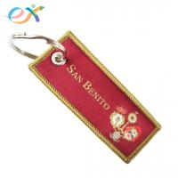 China Red Color Personalized Fabric Keychains , Polyester Keychain With Logo Customized on sale