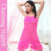 Beauty Pink Sexy Chemise Lingerie Fine Elegant Rose With G-string for females