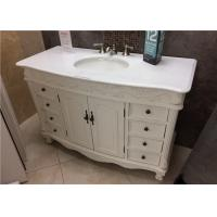 "Wholesale Crystal White 22"" Wide Marble Vanity Countertops With Oval Sink And Three Faucet Holes from china suppliers"