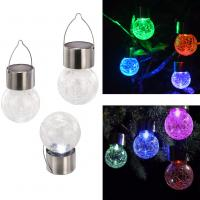 China Solar Light Light Control Color Changing Solar Crack Glass Ball Light Home Decorative Street Light Solar Hanging Light on sale