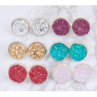 Buy cheap Multicolored Gold Druzy Stud Earrings Round Shaped Gold Plated Solar Quartz Dyed from Wholesalers