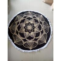 Wholesale Custom Reactive Printed Cotton Circle Beach Towel Round with fringe tassels from china suppliers