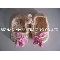 Wholesale Khaki Crochet Baby Boat Shoes/ Pink Cherry Accessories Knitted Baby Girl Shoes from china suppliers