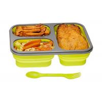 OEM Healthy Durable Silicone Lunch Box Collapsible With Fork And Spoon