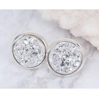 Buy cheap Natural Silver White Druzy Stud Earrings 6mm 8mm Real Sterling Silver Plated  For Women from Wholesalers