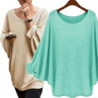 Wholesale Solid Color Batwing Sleeve Jumper High Low Pullover Sweater Casual Clothes from china suppliers
