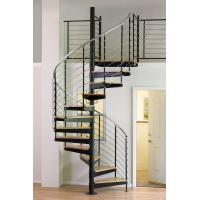 Wholesale Interior duplex wooden spiral staircase with inox steel rod railing design from china suppliers