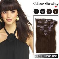 China 18inch 20inch 22inch Human Hair Clip Hair Extensions Straight #4 Brown on sale