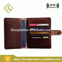 Custom vintage bilfold cow leather passport holder with card slot