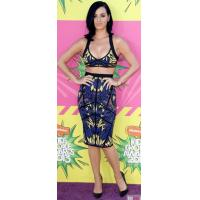 China Tropical Printed Two Piece Bandage Dress Knee Length For Girls on sale