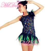 Ruffle Jazz Tap Costumes Striking Peacock One ShoulderDress With Shredded Organza Skirt