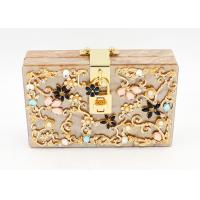 China Ladies Acrylic Box Clutch For Party , Bridal Gold Glitter Clutch Bag on sale