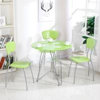 China Modern Glass Top Dining Room Table , Colorful Glass Top Dining Table And Chairs on sale