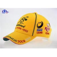 Woven Sandwich Embroidery / Embroidered Baseball Caps Yellow Bright Color for Summer