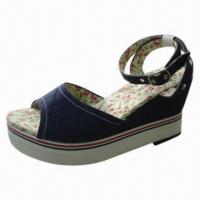 Wholesale Women's Wedge Espadrilles with Demin Upper, TPR Outsole, Various Size and Models Available from china suppliers