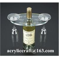 China Personalized Engraved Transparent Oval Acrylic Two Wine Glass Holder on sale