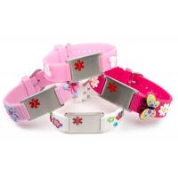 China Embossed Silicone Medical ID Wristband , Children's Medical ID Bracelets With Alloy Plate on sale