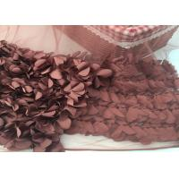 100% Polyester Soft Lace Fabric 3d Flower / Tulle Lace Fabric For Wedding Dress