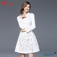 Wholesale JS 37 New Design Custom Long Sleeve Casual Elegant White Lady Floral Dress from china suppliers