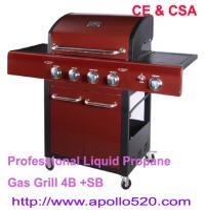 Professional Liquid Propane Gas Grill 4B +SB
