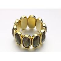 Buy cheap Gold Acrylic Women'S Fashion  Costume Jewelry Bracelets Bangle With Black Oval Opal from Wholesalers