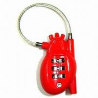 Wholesale 3 digits heart shape combination lock with cable from china suppliers
