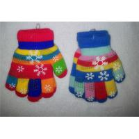 Wholesale  Keep Warm High Quality Hands Fashion Soft Knitted colorful Striped Flower kids baby gloves
