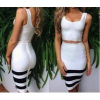 China 2014 new white and black striped 2 piece bandage dress,knee-length bodycon party dress on sale