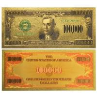 China Colored dollars 24k Gold Foil One Hunderd Thousand Paper Money on sale